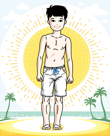 Little boy standing wearing fashionable beach shorts. Vector attractive kid illustration. Fashion theme clipart.