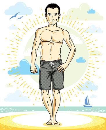 Handsome man posing on tropical beach in colorful shorts. Vector character. Summer holidays theme. Illusztráció