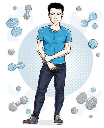 Handsome brunet young man poses on simple background with dumbbells and barbells. Vector illustration of sportsman. Work out and training theme.