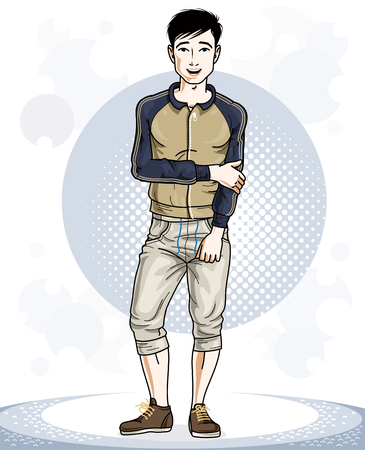 Happy brunet young adult man standing. Vector character wearing sport clothes, healthy lifestyle and fitness theme.