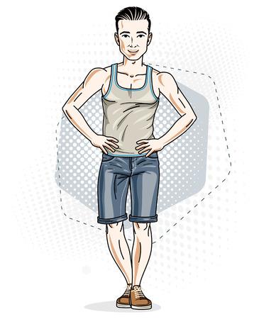 Heureux jeune homme adulte brunet debout. Caractère vectoriel portant des vêtements décontractés comme un short en jean et un singulet. Vecteurs