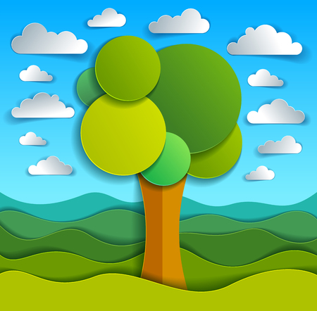 Tree in the field scenic nature landscape cartoon modern style paper cut vector illustration.  イラスト・ベクター素材
