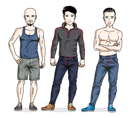 Confident handsome men standing in stylish sportswear, sportsman and fitness people. Vector diverse people illustrations set. Lifestyle theme male characters. 矢量图像