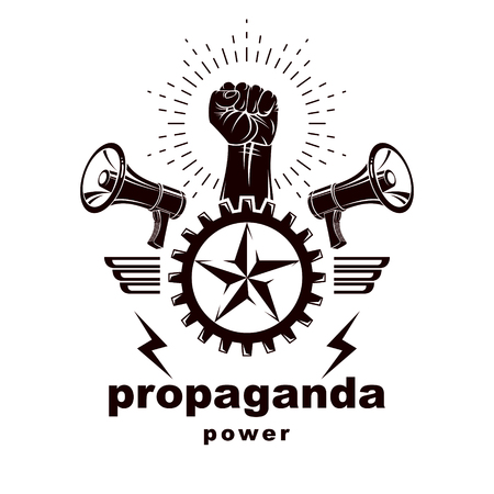 Vector leaflet created using clenched fists raised up, megaphone equipment and industrial gear element. Totalitarian utopia, ideological propaganda.
