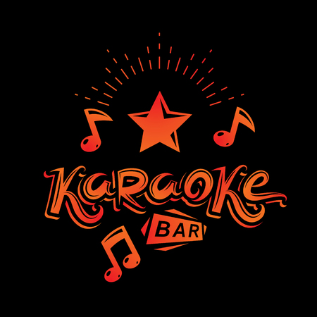 Karaoke bar writing, vector emblem created using musical notes and other design elements. Leisure and relaxation lifestyle presentation