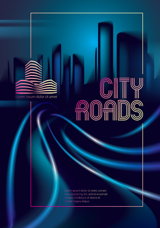 Light trails on the street of big city in the night. Effect vector beautiful background. Blur colorful dark background with cityscape, buildings silhouettes skyline. Brochure, flyer, cover, poster or guidebook template.