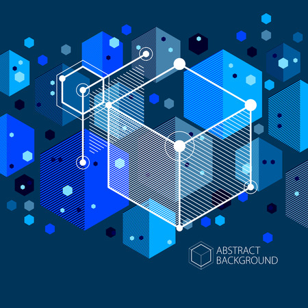 Abstract geometric vector blue background with cubes and other elements. Composition of cubes, hexagons, squares, rectangles and abstract elements. Perfect background for your design projects.