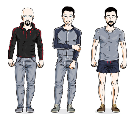 Handsome men standing in stylish sportswear, sportsman and fitness people. Vector different people characters set. Illustration