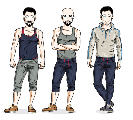 Handsome men standing in stylish sportswear, sportsman and fitness people. Vector different people characters set. Lifestyle theme male characters.