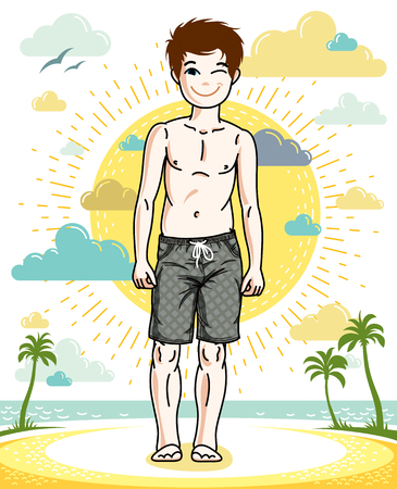 Teen cute little boy standing in colorful stylish beach shorts. Vector kid illustration. Fashion and lifestyle theme cartoon. Illustration