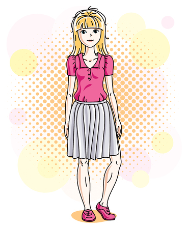 Attractive blonde woman posing on colorful backdrop with bubbles and circles and wearing casual clothes. Vector nice lady illustration.