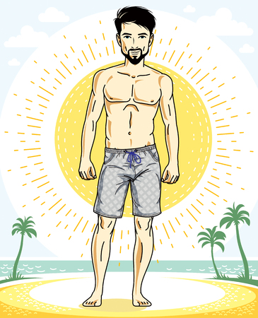 Handsome brunet man with beard and whiskers poses on tropical beach in shorts. Vector character. Summer holidays theme.