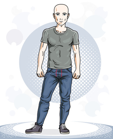 Happy hairless young adult man standing. Vector character wearing sport clothes, healthy lifestyle and fitness theme. Illustration