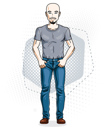 Handsome hairless young man poses on modern background. Vector illustration of male with beard and mustaches. Lifestyle theme clipart.