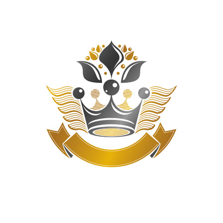 Ancient Crown emblem. Heraldic vector design element. Retro style label, heraldry logo. Ornate logotype isolated on white background. 矢量图像