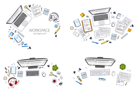 Office employee or entrepreneur work desks workplaces with PC and laptops and diverse stationery objects for work and analytics papers, top view. All elements are easy to use separately. Vector set.