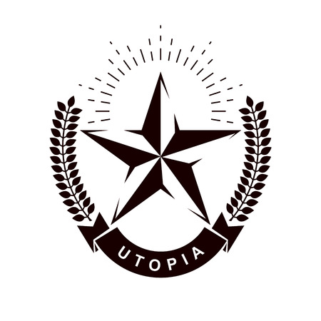 Vector star logo composed using laurel wreath. Totalitarianism as the evil power, ideological propaganda.