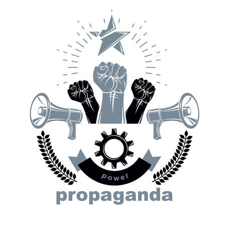 Vector leaflet created using clenched fists raised up, megaphones equipment and engineering cog wheel element. Dictatorship and manipulation theme, totalitarianism as the evil power.