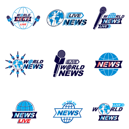 Social mass media logo, emblems and poster vector templates collection. Blue Earth, journalistic microphones composed with news, breaking news and live news writings.