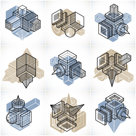 Abstract three-dimensional shapes set, vector designs. Illustration