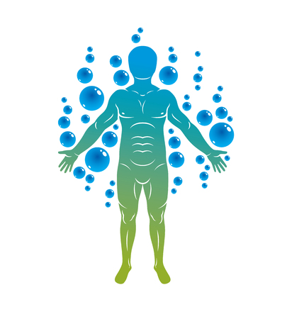 Vector illustration of athletic man isolated on white and surrounded with water bubbles, element of water. Environment conservation metaphor.