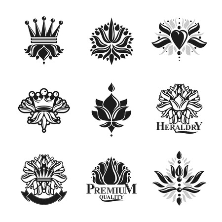Flowers, Royal symbols, floral and crowns,  emblems set. Heraldic Coat of Arms decorative logos isolated vector illustrations collection. Illustration