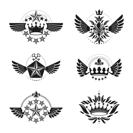 Ancient Crowns and Military Stars emblems set. Heraldic vector design elements collection. Retro style label, heraldry logo. Illustration