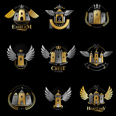 Ancient Forts emblems set. Heraldic Coat of Arms decorative logos isolated vector illustrations collection. 矢量图像