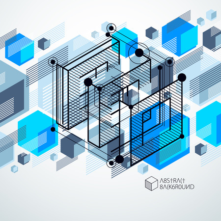 Vector minimalistic geometric abstract 3D blue composition in futuristic style. Modern geometric composition can be used as template and layout.