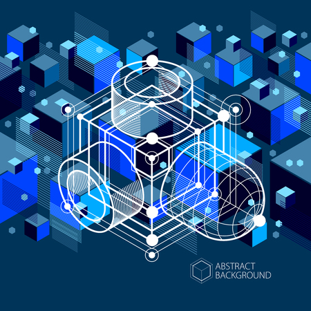 Engineering technology vector dark blue wallpaper made with 3D cubes and lines. Engineering technological wallpaper made with honeycombs. Abstract technical background. Illustration
