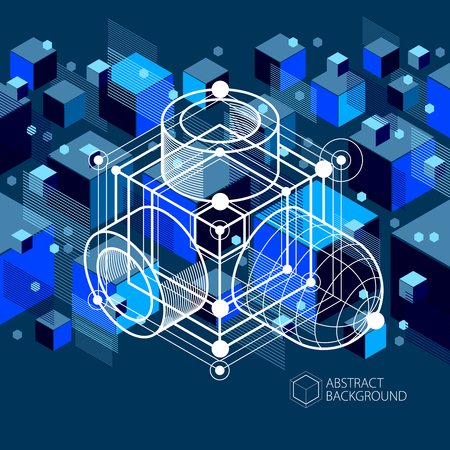 Vector abstract blue black background created in isometric mesh lines style. Mechanical scheme, vector engineering drawing with cube and mechanism parts. Perfect background for your design projects