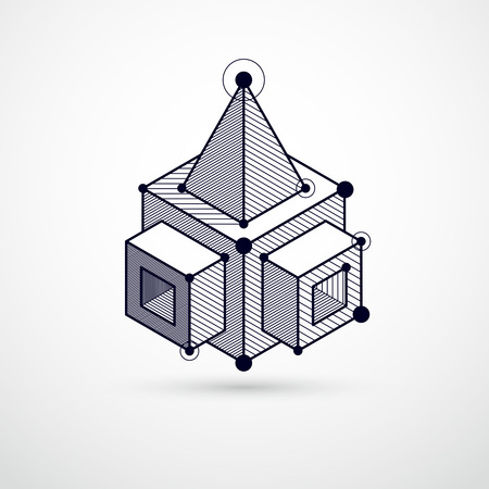 Isometric abstract black and white background with linear dimensional cube shapes, vector 3d mesh elements. Layout of cubes, hexagons, squares, rectangles and different abstract elements.