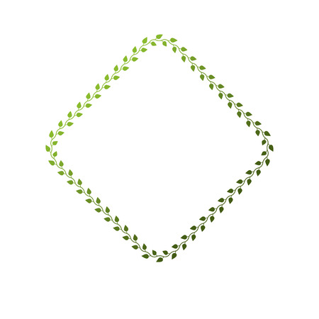 Victorian art vector rhomb frame with blank copy space created using floral decoration and green leaves. Heraldic template illustration.