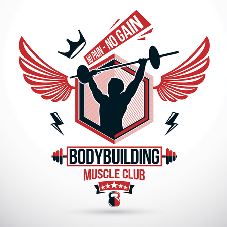 Weightlifting club conceptual emblem, vector sportsman athlete holds barbell.