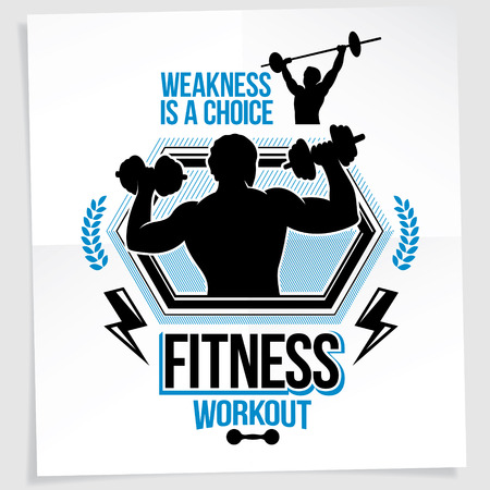 Weight-lifting championship promotion flyer created with vector illustration of athletic bodybuilder body silhouette holding fitness dumbbells sport equipment. Weakness is a choice lettering.