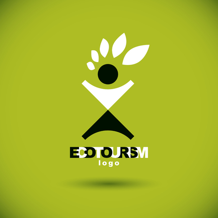 Vector illustration of joyful abstract individual with raised hands up. Ecotourism conceptual logo. Wellness and harmony symbolic symbol. Illustration