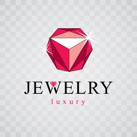 Vector shining gemstone design element. Luxury diamond sign emblem, logotype. Brilliant jewelry illustration. Illustration
