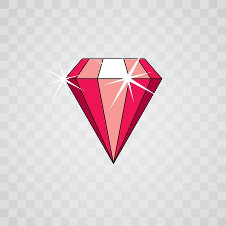 Vector glossy red ruby symbol. Luxury diamond icon, illustration. Illustration