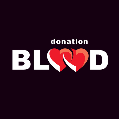 Blood donation inscription made with heart shape and blood drops. Charity and volunteer conceptual logo for use in medical and social theme advertisement. Illustration