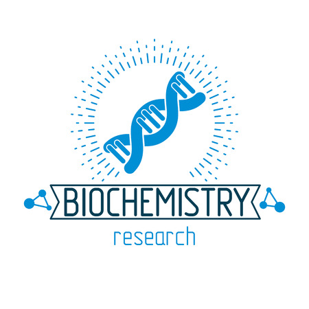 Vector model of human DNA strands. Biochemistry research conceptual abstract logotype can be used as the emblem of scientific organizations. Illustration