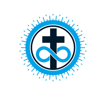Everlasting Christian Love and True Belief in God vector creative symbol design, combined with infinity endless loop and Christian Cross, vector logo or sign. Stock fotó - 113461424