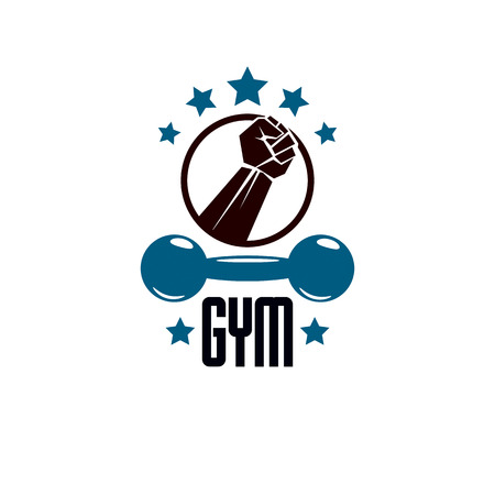 Fitness and heavyweight gym sport club logotype template, retro stylized vector emblem or badge.