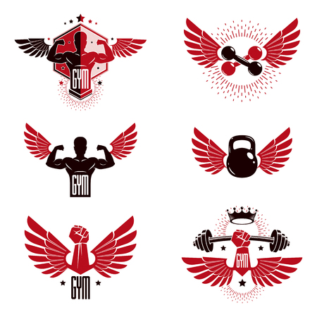 Fitness and heavyweight gym sport club logotype templates, retro style vector emblems set.