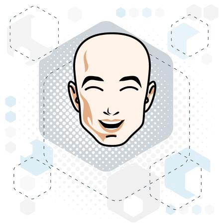 Caucasian man face expressing positive emotions, vector human head illustration. Illustration