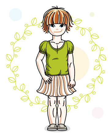 Little red-haired cute girl toddler in casual clothes standing on green spring backdrop. Vector illustration of pretty child. Illustration