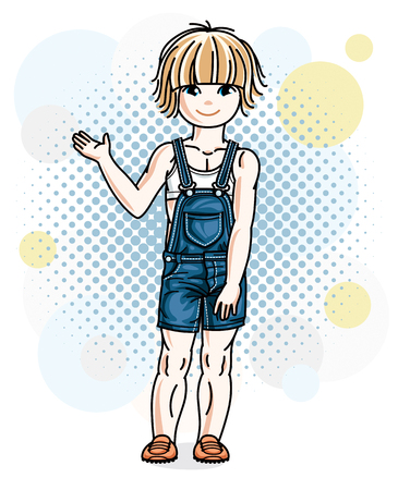 Beautiful little blonde girl wearing casual clothes standing on colorful backdrop with bubbles. Vector human illustration.