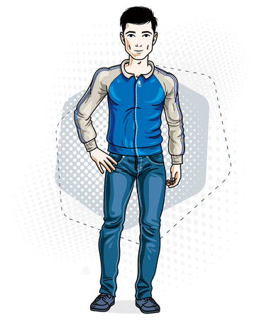 Confident handsome brunet young man standing. Vector illustration of male wearing casual clothes, jeans pants and jacket.