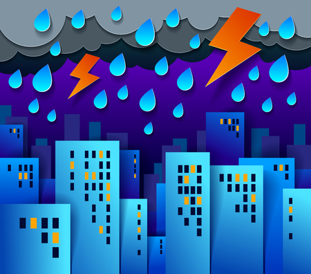 Cityscape under thunderstorm and lightning in the night cartoon vector illustration in paper cut kids application style, high city buildings real property houses and cloudy rainy sky.