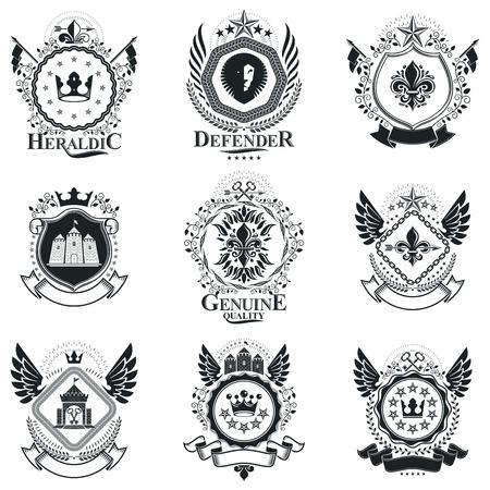 Signes héraldiques vecteur éléments vintage. Collection de symboles dans un style vintage.