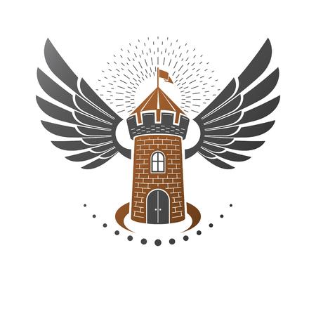 Ancient Bastion emblem. Heraldic vector design element. Retro style label, heraldry logo. Antique logotype on isolated white background.
